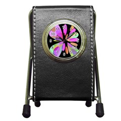 Pink abstract flower Pen Holder Desk Clocks
