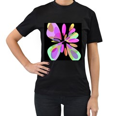 Pink abstract flower Women s T-Shirt (Black) (Two Sided)
