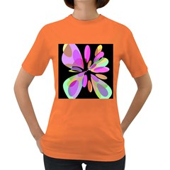 Pink abstract flower Women s Dark T-Shirt