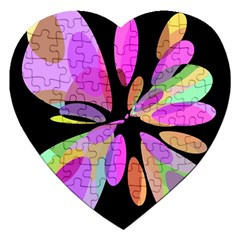 Pink abstract flower Jigsaw Puzzle (Heart)