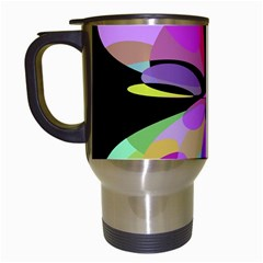 Pink abstract flower Travel Mugs (White)