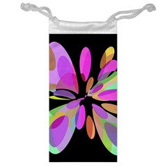 Pink abstract flower Jewelry Bags