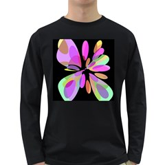 Pink abstract flower Long Sleeve Dark T-Shirts