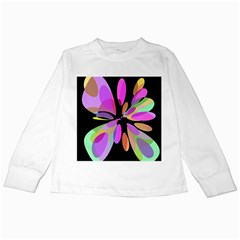 Pink abstract flower Kids Long Sleeve T-Shirts