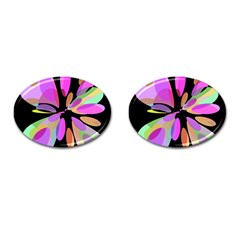 Pink abstract flower Cufflinks (Oval)