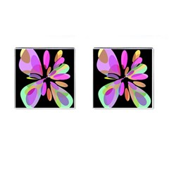 Pink abstract flower Cufflinks (Square)