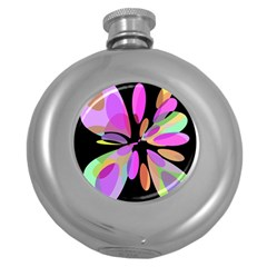 Pink abstract flower Round Hip Flask (5 oz)