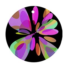 Pink abstract flower Round Ornament (Two Sides)