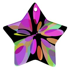 Pink abstract flower Star Ornament (Two Sides)