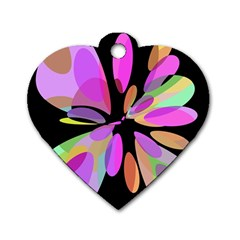 Pink abstract flower Dog Tag Heart (One Side)