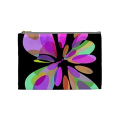 Pink abstract flower Cosmetic Bag (Medium)