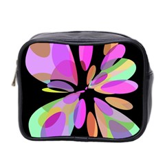 Pink abstract flower Mini Toiletries Bag 2-Side