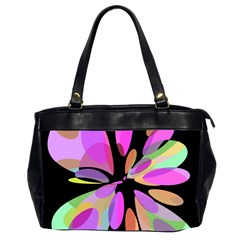 Pink abstract flower Office Handbags (2 Sides)