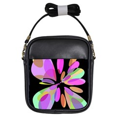 Pink abstract flower Girls Sling Bags