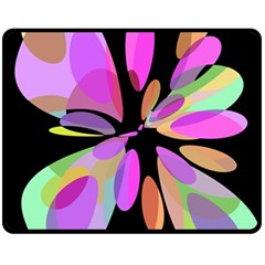 Pink abstract flower Fleece Blanket (Medium)