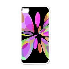 Pink abstract flower Apple iPhone 4 Case (White)