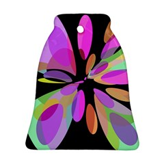 Pink abstract flower Bell Ornament (2 Sides)