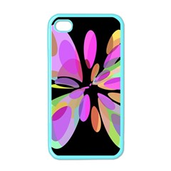 Pink abstract flower Apple iPhone 4 Case (Color)