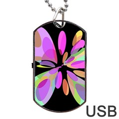 Pink abstract flower Dog Tag USB Flash (Two Sides)