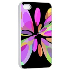 Pink abstract flower Apple iPhone 4/4s Seamless Case (White)