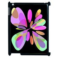 Pink abstract flower Apple iPad 2 Case (Black)
