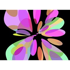 Pink abstract flower Birthday Cake 3D Greeting Card (7x5)