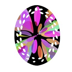 Pink abstract flower Ornament (Oval Filigree)