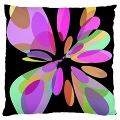 Pink abstract flower Large Cushion Case (One Side)