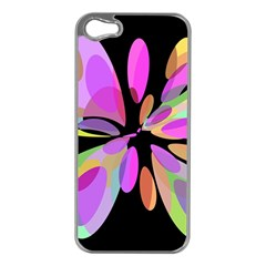Pink abstract flower Apple iPhone 5 Case (Silver)