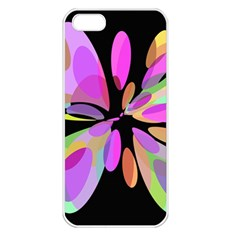 Pink abstract flower Apple iPhone 5 Seamless Case (White)