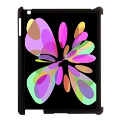 Pink abstract flower Apple iPad 3/4 Case (Black)