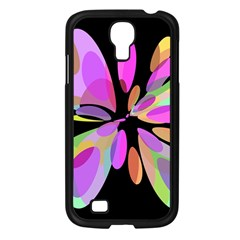 Pink abstract flower Samsung Galaxy S4 I9500/ I9505 Case (Black)