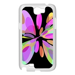 Pink abstract flower Samsung Galaxy Note 2 Case (White)