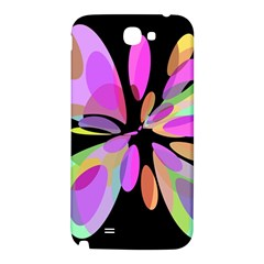 Pink abstract flower Samsung Note 2 N7100 Hardshell Back Case