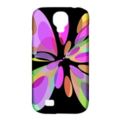 Pink abstract flower Samsung Galaxy S4 Classic Hardshell Case (PC+Silicone)