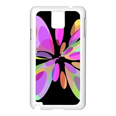 Pink abstract flower Samsung Galaxy Note 3 N9005 Case (White)