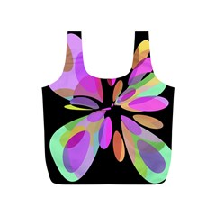 Pink abstract flower Full Print Recycle Bags (S)