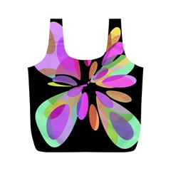 Pink abstract flower Full Print Recycle Bags (M)