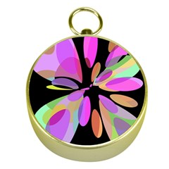 Pink abstract flower Gold Compasses