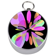Pink abstract flower Silver Compasses