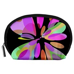 Pink abstract flower Accessory Pouches (Large)