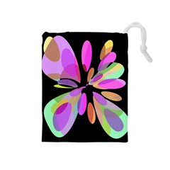 Pink abstract flower Drawstring Pouches (Medium)
