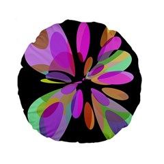 Pink abstract flower Standard 15  Premium Flano Round Cushions
