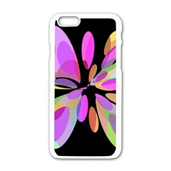 Pink abstract flower Apple iPhone 6/6S White Enamel Case