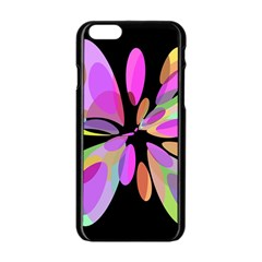 Pink abstract flower Apple iPhone 6/6S Black Enamel Case