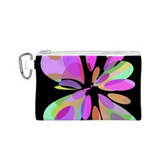 Pink abstract flower Canvas Cosmetic Bag (S)
