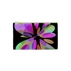 Pink abstract flower Cosmetic Bag (XS)