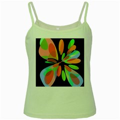 Colorful Abstract Flower Green Spaghetti Tank