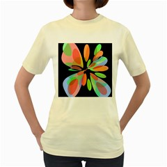 Colorful abstract flower Women s Yellow T-Shirt