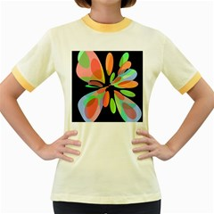 Colorful abstract flower Women s Fitted Ringer T-Shirts